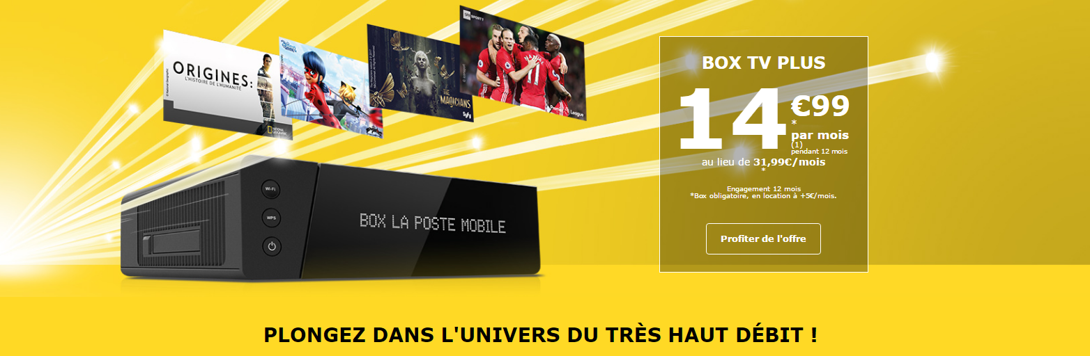 promotion la poste mobile la box tv plus thd 14 99 mois capitaine forfait. Black Bedroom Furniture Sets. Home Design Ideas